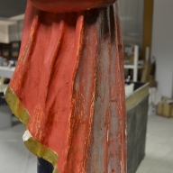 escultura en fase de limpieza de policromía